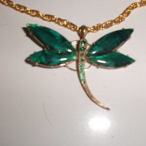 Jewelry - Necklace gold chain dragonfly pendant shell green